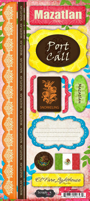 Paradise Collection Mazatlán Cardstock Sticker Sheet by Scrapbook Customs