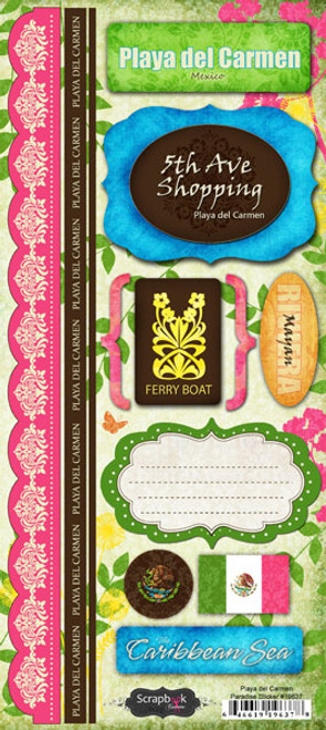 Playa Del Carmen Paradise Collection Cardstock Sticker Sheet by Scrapbook Customs