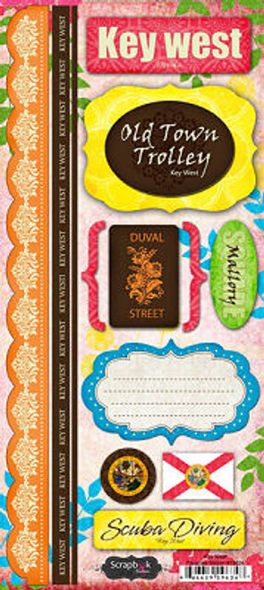 Paradise Collection Key West Cardstock Sticker Sheet by Scrapbook Customs