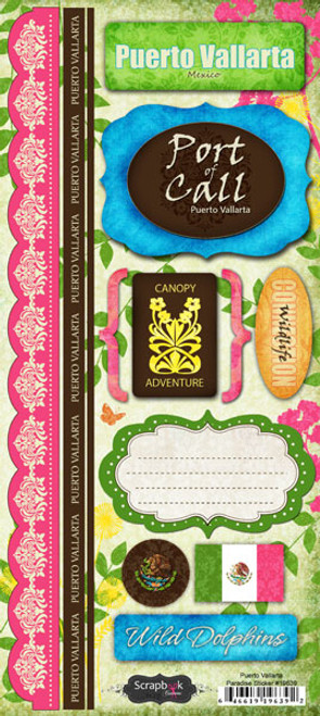 Puerto Vallarta Paradise Collection Cardstock Sticker Sheet by Scrapbook Customs