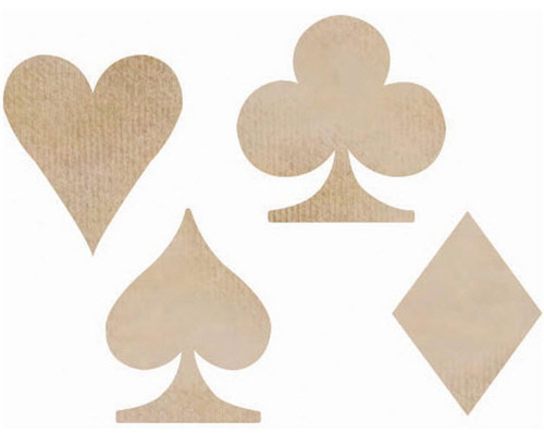 Wood Flourishes Collection Playing Card Suits Wood Flourishes by Kaisercraft - Pkg. of 4