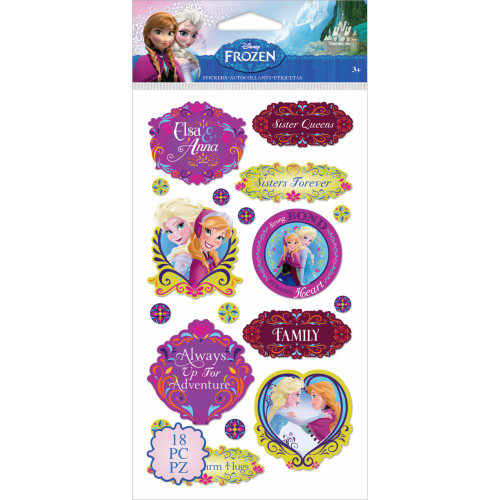 Disney Frozen Collection Anna & Elsa Sisters Flat Stickers by EK Success