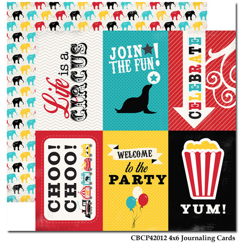 Circus Party Scrapbook Collection Yum! Journaling Cards 12 x 12 Double-Sided Scrapbook Paper by Carta Bella