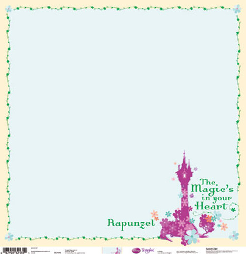 Disney Tangled Collection Rapunzel The Magic's In Your Heart Gold Foiled 12 x 12 Scrapbook Paper by Sandylion