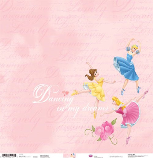 Disney Princess Collection Dancing Princessess 12 x 12 Glittered Scrapbook Paper by Sandylion