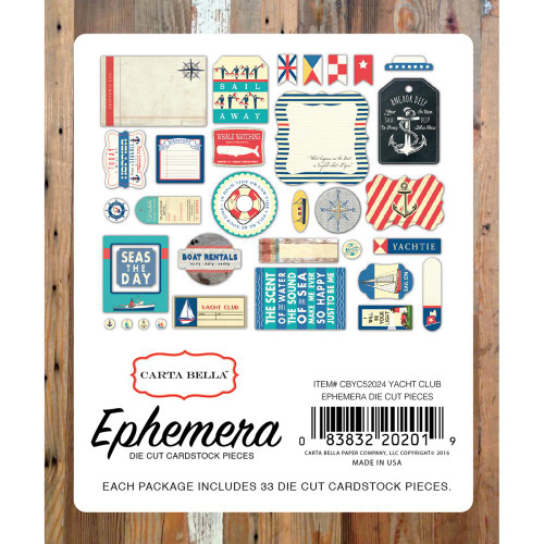 Yacht Club Collection Ephemera Die Cut Cardstock Scrapbook Pieces by Carta Bella - Pkg. of 33