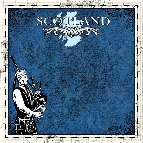 Sightseeing Collection Scotland Map 12 x 12 Scrapbook Paper by Scrapbook Customs