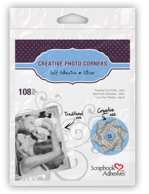 Creative Photo Corners Collection Silver Self-Adhesive Photo Corners by Scrapbook Adhesives - 108 Pieces