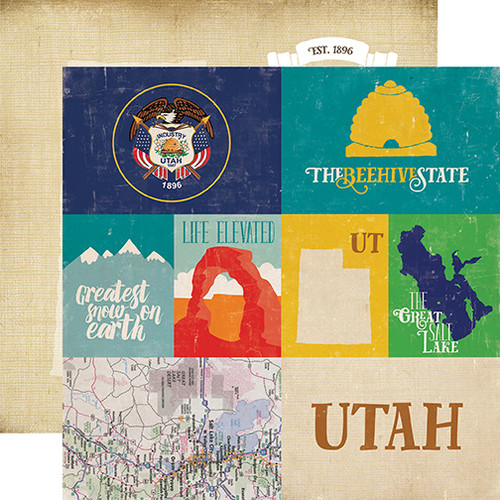 Stateside Collection Utah 12 x 12 Double-Sided Scrapbook Paper by Echo Park Paper