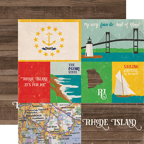Stateside Collection Rhode Island  12 x 12 Double-Sided Scrapbook Paper by Echo Park Paper