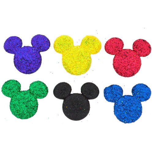 Disney Dress It Up Glittered Mickey Mouse Icon Scrapbook Button Embellishments by Jesse James Buttons