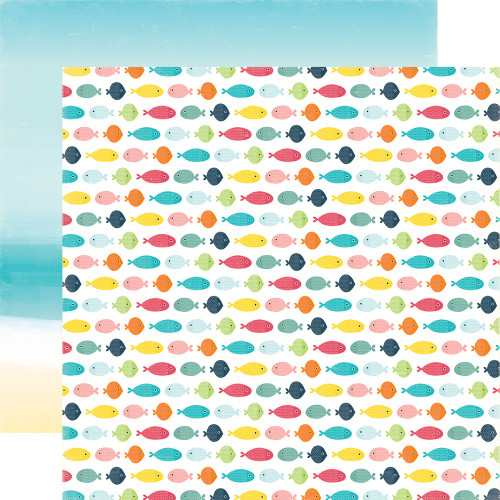 Summer Party Collection Swimming Fish 12 x 12 Double-Sided Scrapbook Paper by Echo Park Paper