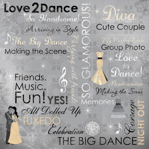 Our Special Night Collection Love 2 Dance Collage 12 x 12 Scrapbook Paper by Karen Foster Design