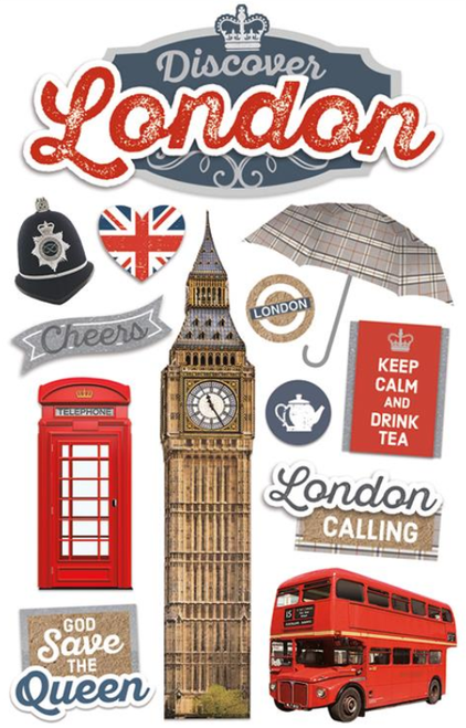 Discover England Collection London 3D Glitter 4.5 x 7 Scrapbook Embellishment by Paper House Productions