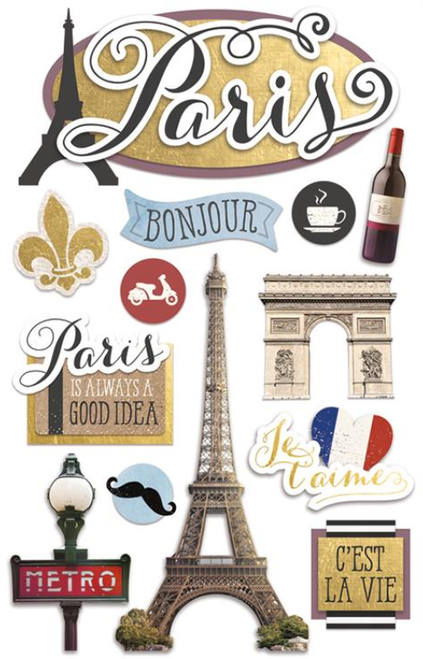 Discover France Collection Paris 3D Glitter 4.5 x 7 Scrapbook Embellishment by Paper House Productions