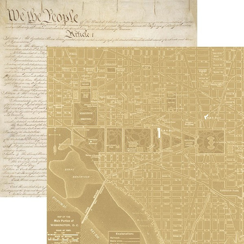 Let Freedom Ring Collection Washington, DC Map 12 x 12 Double-Sided Scrapbook Paper by Paper House Productions