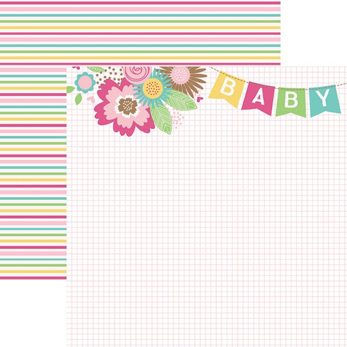 Hello Baby Collection Pink Girl Banner 12 x 12 Double-Sided Scrapbook Paper by Paper House Productions