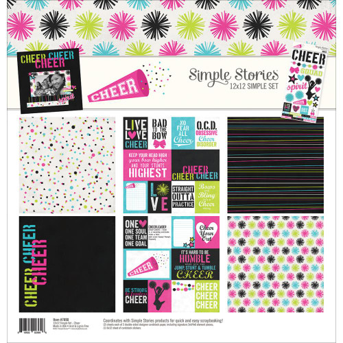 Simple Sets Collection Cheer 12 x 12 Scrapbook Page Kit by Simple Storeies - 6 Papers, 1 Sticker