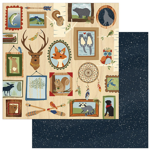 Campfire Collection Lodge Wall 12 x 12 Double-Sided Scrapbook Paper by Photo Play