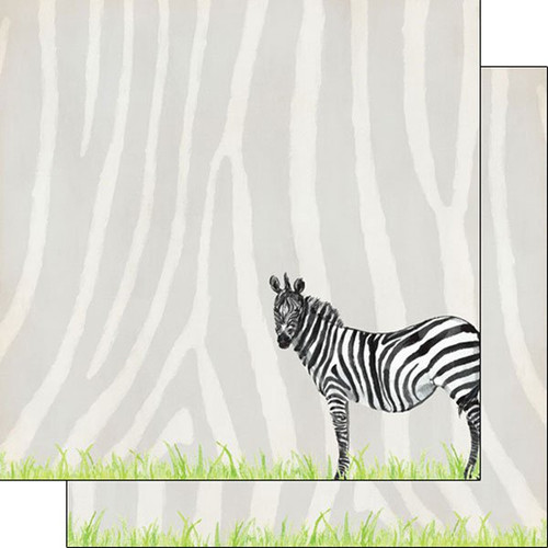 African Safari Collection Zebra Safari 12 x 12 Double-Sided Scrapbook Paper by Scrapbook Customs