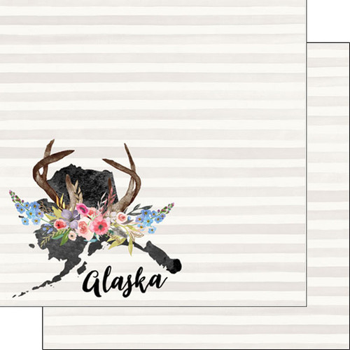 Watercolor Collection Alaska 12 x 12 Double-Sided Scrapbook Paper by Scrapbook Customs