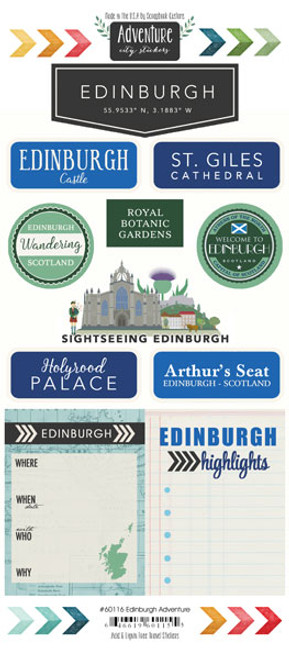 Travel Adventure Collection Edinburgh, Scotland Adventure 6 x 12 Scrapbook Sticker Sheet by Scrapbook Customs