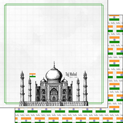 Travel Adventure Collection India Taj Mahal 12 x 12 Double-Sided Scrapbook Paper by Scrapbook Customs