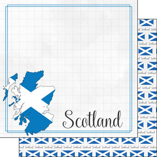 Travel Adventure Collection Scotland Border 12 x 12 Double-Sided Scrapbook Paper by Scrapbook Customs
