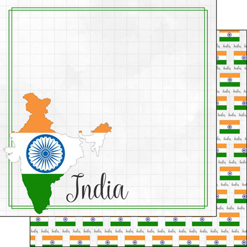 Travel Adventure Collection India Border 12 x 12 Double-Sided Scrapbook Paper by Scrapbook Customs