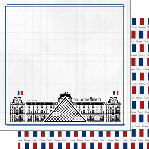 Travel Adventure Collection Louvre Museum 12 x 12 Double-Sided Scrapbook Paper by Scrapbook Customs