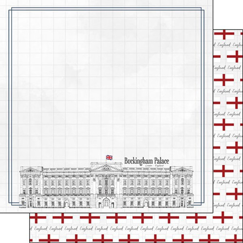 Travel Adventure Collection Buckingham Palace 12 x 12 Double-Sided Scrapbook Paper by Scrapbook Customs