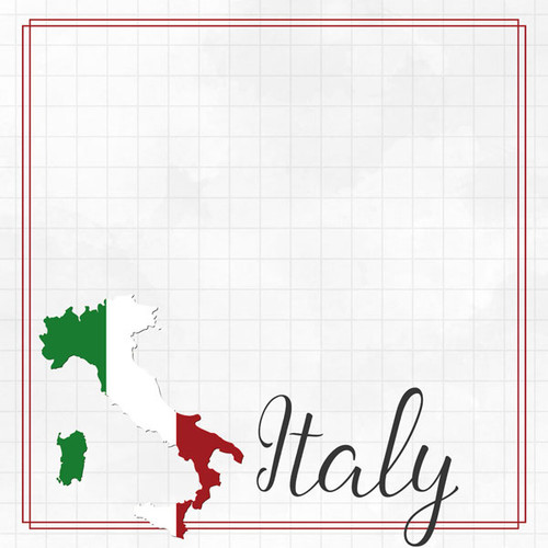 Travel Adventure Collection Italy Border 12 x 12 Double-Sided Scrapbook Paper by Scrapbook Customs