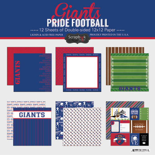 Pride Football Collection Giants 12 x 12 Scrapbook Page Kit by Scrapbook Customs - 12 Papers