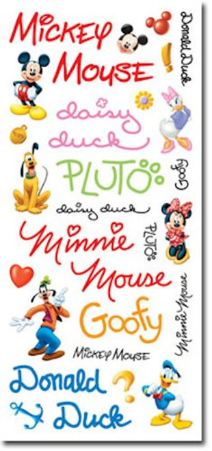 Disney Mickey Mouse Clubhouse Collection 6 x 12 Mickey & Friends Autographs 6 x 12 Scrapbook Sticker Sheet by Sandylion