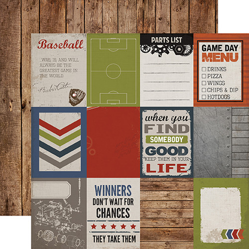 Work Hard, Play Hard Collection 3 x 4 Journaling Cards 12 x 12 Double-Sided Scrapbook Paper by Carta Bella