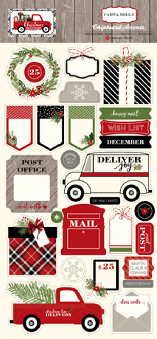 Christmas Delivery Collection 6 x 12 Scrapbook Chipboard Accents Embellishments by Carta Bella