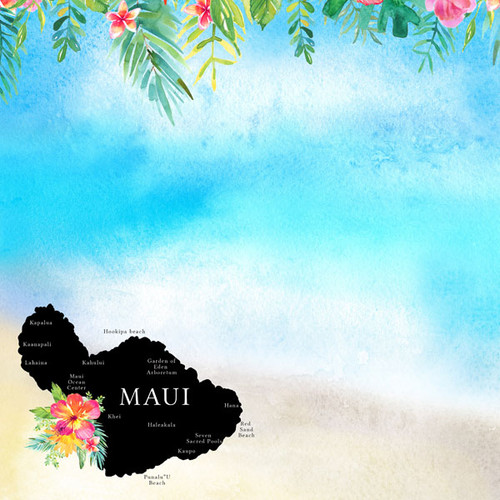 Getaway Collection Maui, Hawaii 12 x 12 Double-Sided Scrapbook Paper by Scrapbook Customs