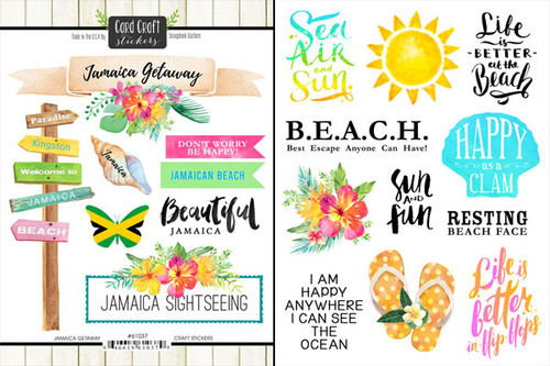 Getaway Collection Jamaica 6 x 8 Double-Sided Scrapbook Sticker Sheet by Scrapbook Customs