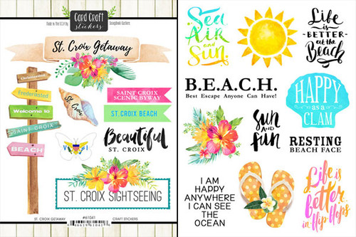 Getaway Collection St. Croix 6 x 8 Double-Sided Scrapbook Sticker Sheet by Scrapbook Customs