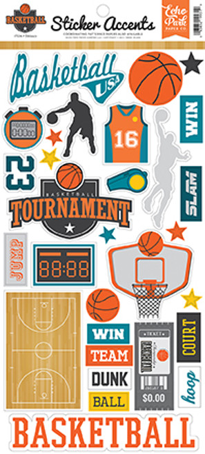 Basketball Collection 6 x 12 Cardstock Scrapbook Sticker Sheet by Echo Park Paper