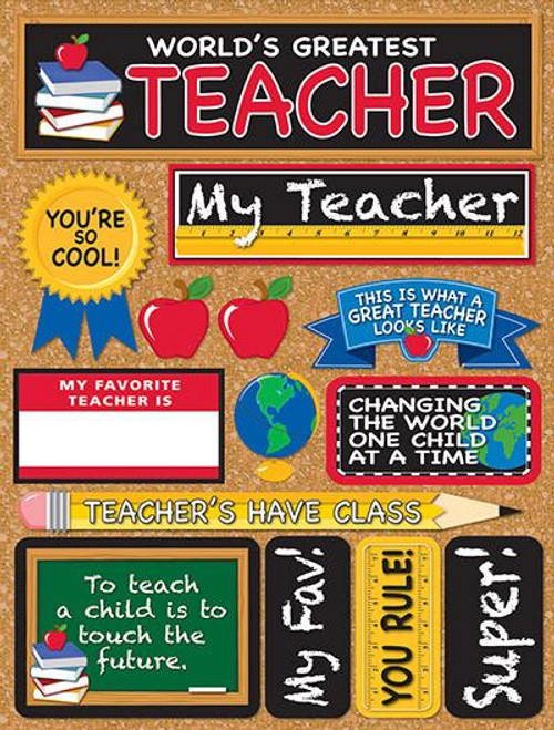 Signature Series Collection  World's Greatest Teacher 5 x 6 Scrapbook Embellishment by Reminisce