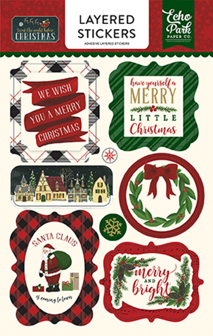 Twas The Night Before Christmas 5 x 7 Layered Sticker Scrapbook Embellishment by Echo Park Paper