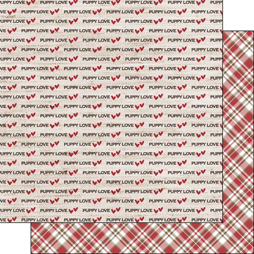 Puppy Love Collection Puppy Love Plaid 12 x 12 Double-Sided Scrapbook Paper by Scrapbook Customs