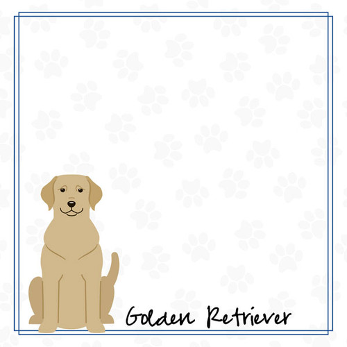 Puppy Love Collection Golden Retriever 12 x 12 Double-Sided Scrapbook Paper by Scrapbook Customs