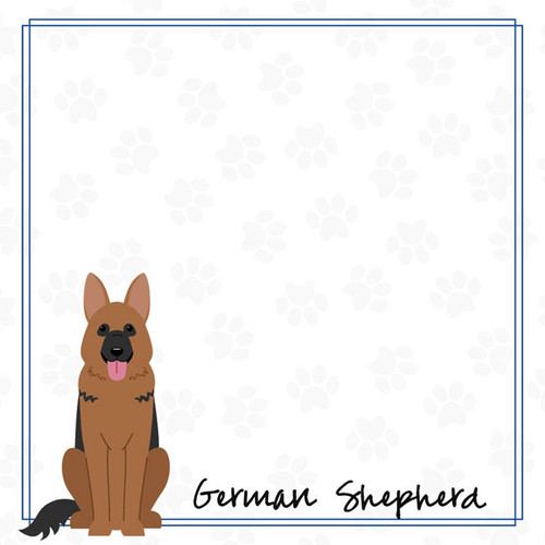 Puppy Love Collection German Shepherd 12 x 12 Double-Sided Scrapbook Paper by Scrapbook Customs