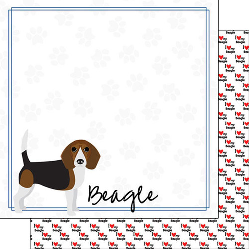 Puppy Love Collection Beagle 12 x 12 Double-Sided Scrapbook Paper by Scrapbook Customs
