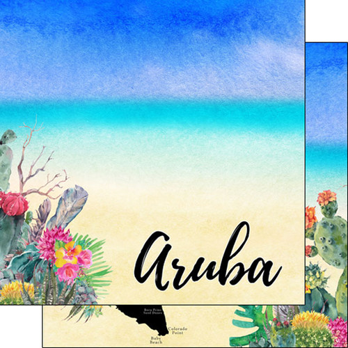 Getaway Collection Aruba 12 x 12 Double-Sided Scrapbook Paper by Scrapbook Customs