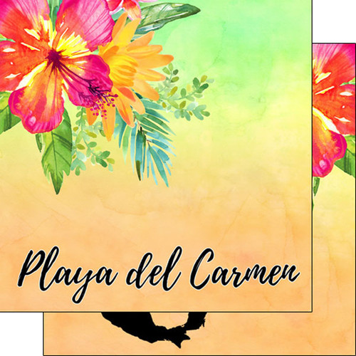 Getaway Collection Playa Del Carmen Mexico 12 x 12 Double-Sided Scrapbook Paper by Scrapbook Customs