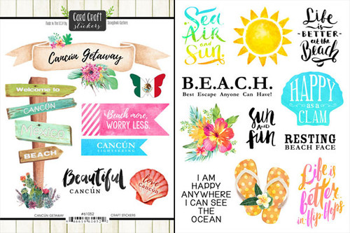 Getaway Collection Cancun Mexico 6 x 8 Double-Sided Scrapbook Sticker Sheet by Scrapbook Customs