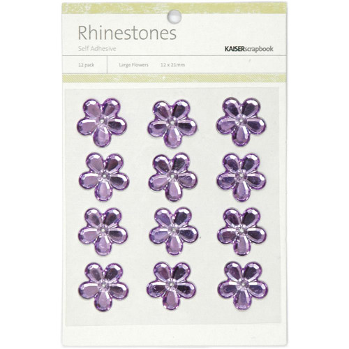 Rhinestone Collection Lilac Large Scrapbook Flowers by Kaisercraft - 12 Pack